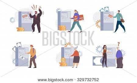 People Interacting With Automated Teller Machine Isolated, Trendy Flat Vector Set. Female Bank Emplo