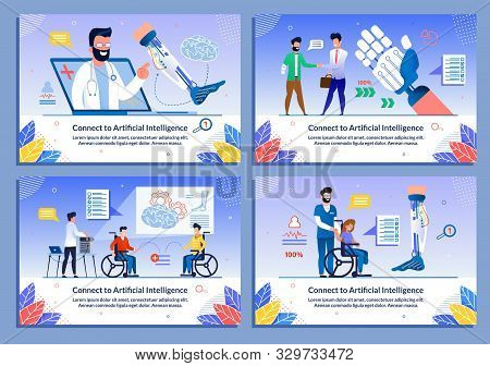 Rehabilitation With Ai Technology Flat Banner Set. Artificial Intelligence Application Support For D