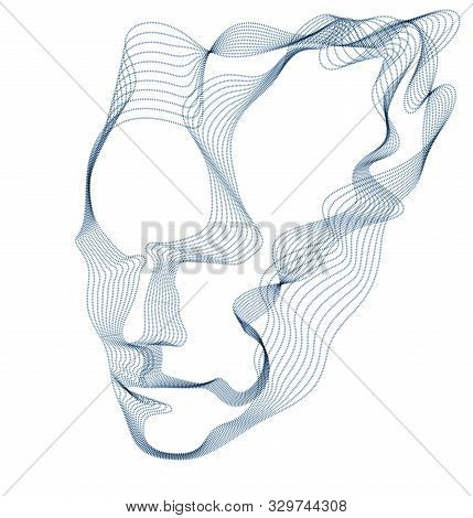 Artificial Intelligence, Abstract Artistic Human Head Portrait Made Of Dotted Particles Array, Vecto