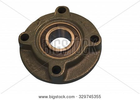 Bearing With Cast Iron Housing ; Isolated White Background ; For Maintenance Job Of Industrial Equip