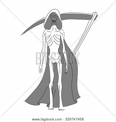 Abstract Image Of Death With A Scythe. A Very Thin Death In A Black Mourning Mantle. Frail Vector Il