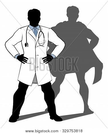 A Doctor Super Hero Silhouette Conceptual Illustration Of A Doctor Standing With His Hands On His Hi