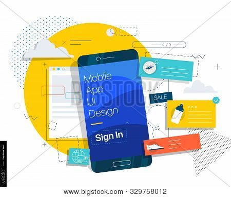 Creation And Promotion Of Web Sites And Mobile Applications. Programming And Design. Concepts Illust