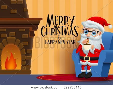 Christmas Character Santa Claus Eating Vector Background Design. Merry Christmas Greeting Text With