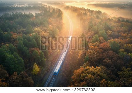 Train In Beautiful Forest In Fog At Sunrise In Autumn. Aerial View Of Moving Commuter Train In Fall.
