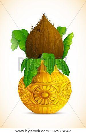 illustration of coconut in golden mangal kalash for hindu festival