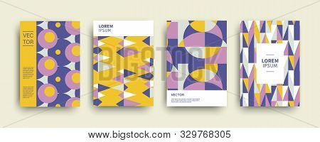 poster of Modern abstract geometric covers templates set. Retro minimal colorful brochure, flyer, poster background composition. Bauhaus, memphis design, vector illustration.