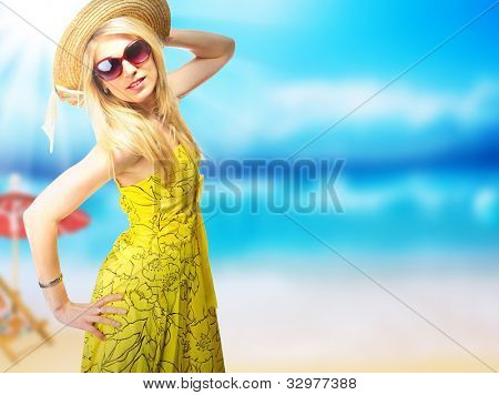 Beautiful young woman in summer dress