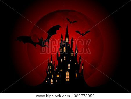 Mystic Vector Illustration, Dark Red Background On A Bloody Big Moon Background With Silhouettes Of