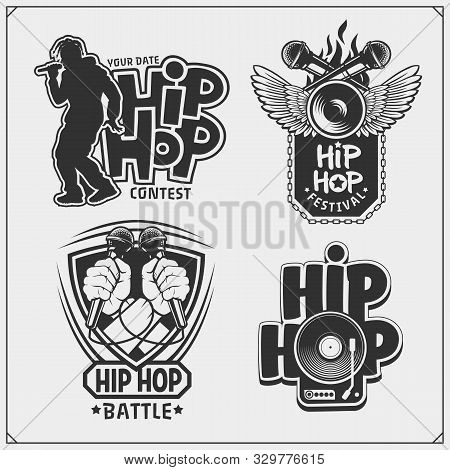 Hip-hop And Rap Emblems, Attributes And Accessories. Poster Templates And Design Elements.