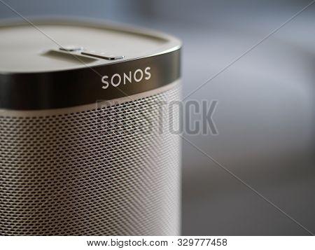 Uk, October 2019: Sonos Play Black Wireless Speaker Close Up