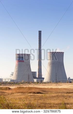Zugres, Donetsk Region, Ukraine - October 10, 2019 Year. A Working Thermal Power Plant. Two Large Co