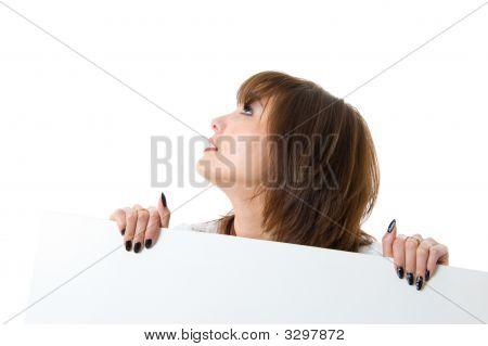 Beautiful Woman Holding A Billboard