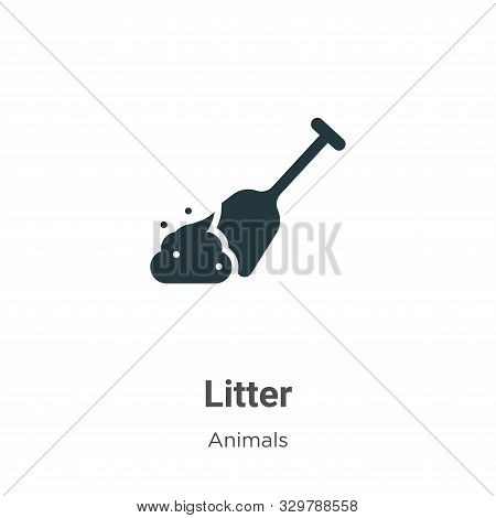 Litter Vector Icon On White Background. Flat Vector Litter Icon Symbol Sign From Modern Animals Coll