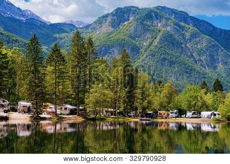 Camping Of Rv Caravan Trailers Near Bohinj Lake In Slovenia