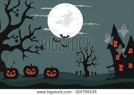 Halloween Vector Illustration In A Flat Style. Halloween Night. Graves, A Creepy Haunted House, Gloo