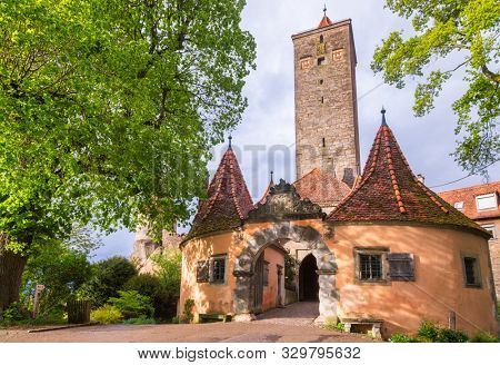 Castle Gate, part of Old Town fortification in Rothenburg ob der Tauber, Bavaria, Germany, Europe