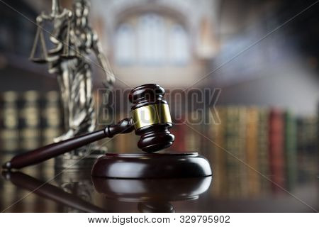 Law Theme. Themis Statue And Judge Gavel In The Law Faculty Library.