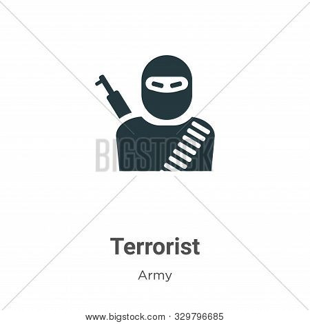 Terrorist icon isolated on white background from army collection. Terrorist icon trendy and modern T
