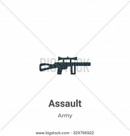 Assault icon isolated on white background from army collection. Assault icon trendy and modern Assau