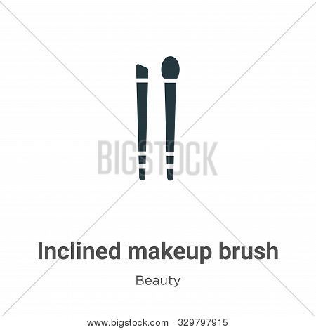 Inclined makeup brush icon isolated on white background from beauty collection. Inclined makeup brus