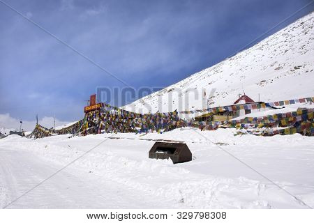 Jammu Kashmir, India - March 22 : Base Camp And Temple With Blessing Flags For People Visit Resting