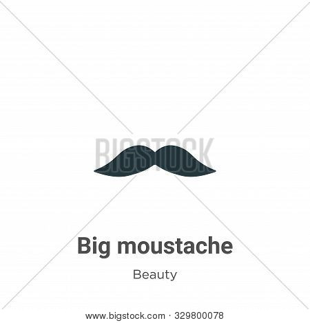 Big Moustache Vector Icon On White Background. Flat Vector Big Moustache Icon Symbol Sign From Moder