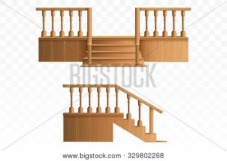 Porch From Wooden Balustrade Isolated On Transparent Background Side And Front View. External Stairc