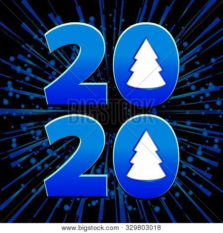 2020 Decorative Date With Christmas Trees Over Black Background With Starburst