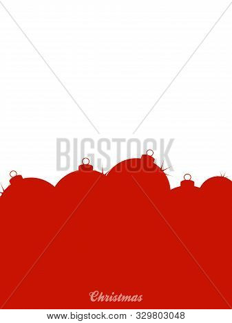 Blank White And Red Christmas Card Or Poster Copy Space With Silhouette Of Baubles And Decorative Te