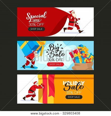 Christmas Or New Year Poster Set With Santa Claus, Large Sack And Gift Boxes. Vector Flat Cartoon Il