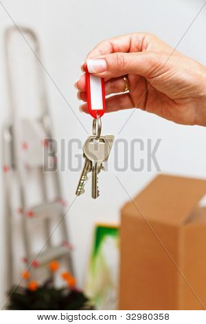 the key to an apartment with the move. new tenant moves.