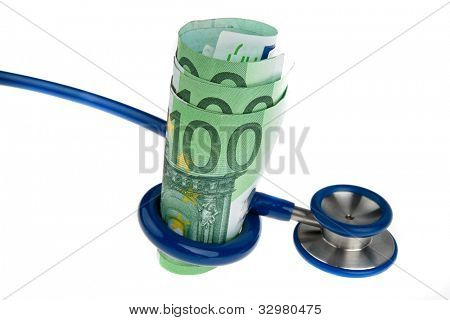 symbol for costs of health with �¢â���¬ and stethoscope