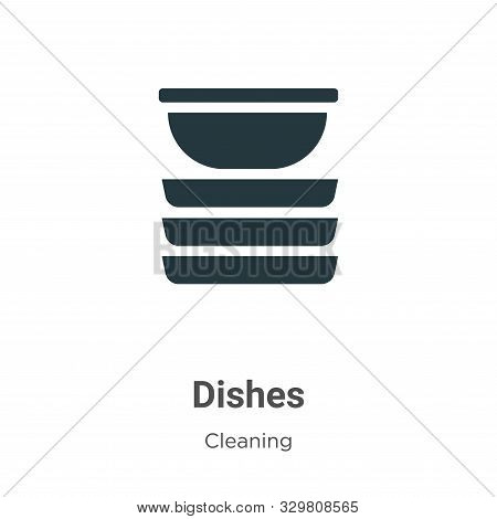 Dishes icon isolated on white background from cleaning collection. Dishes icon trendy and modern Dis