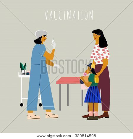 Children Vaccination And Immunization Concept. Mom With Kid Gonna Make A Vaccine Injection.  Doctor