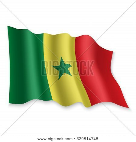 3d Realistic Waving Flag Of Senegal On White Background