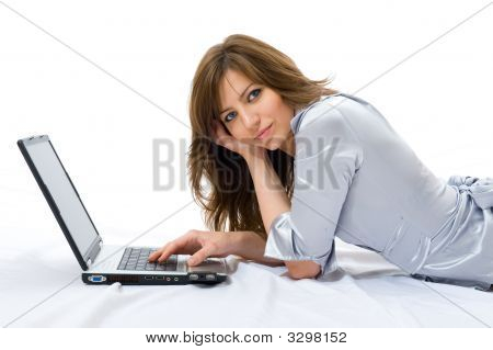 Beautiful Businesswoman With A Laptop.