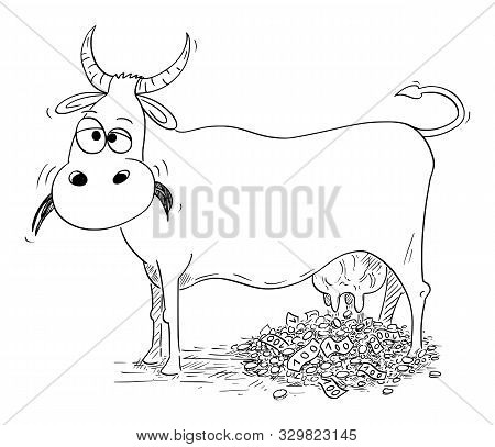 Vector Cartoon Stick Figure Drawing Conceptual Illustration Of Cash Cow Giving Or Milking Money. Con