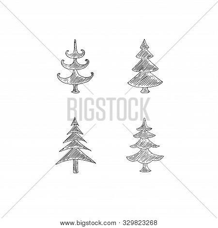 Stylised Fir Tree Set. Monochrome Art Object Design Element Stock Vector Illustration For Web, For P