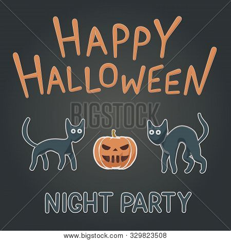 Toon Flat Vector Illustration Of Funny Animals For Happy Halloween. Children Style For Night Party C