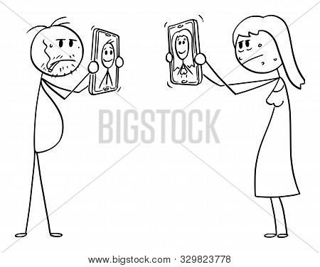 Vector Cartoon Stick Figure Drawing Conceptual Illustration Of Ordinary Or Ugly Man And Woman, Showi