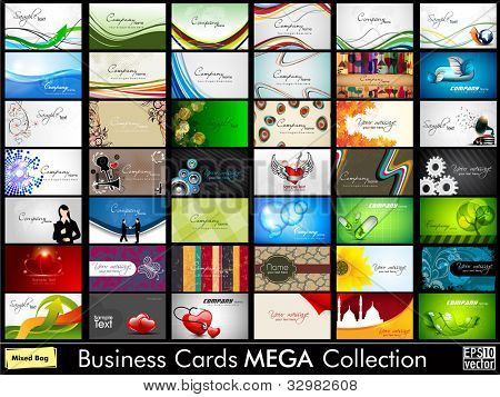 Mega collection of 42 abstract professional and designer business cards or visiting cards on different topic, arrange in horizontal. EPS 10. poster
