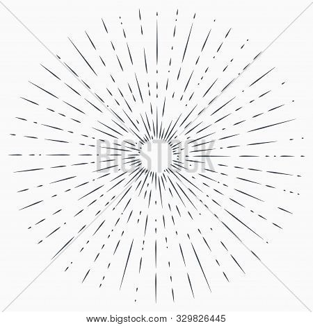 Sun Burst, Star Burst Sunshine. Radiating From The Center Of Thin Beams, Lines. Abstract Explosion,