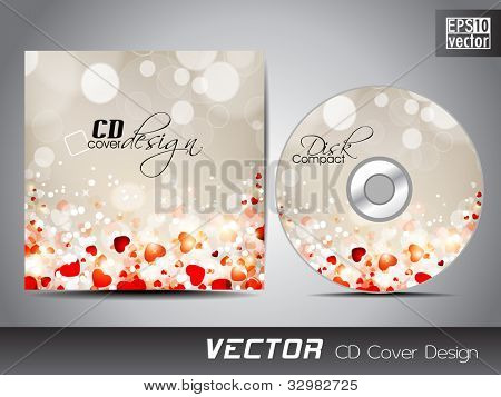 Vector CD cover design with shiny and glossy heart shapes. EPS 10. Vector illustration. poster