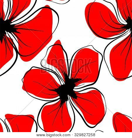 Poppies For Textile Design. Poppy Seamless Pattern. Textile Print Design. Fabric Wallpaper Print Tex