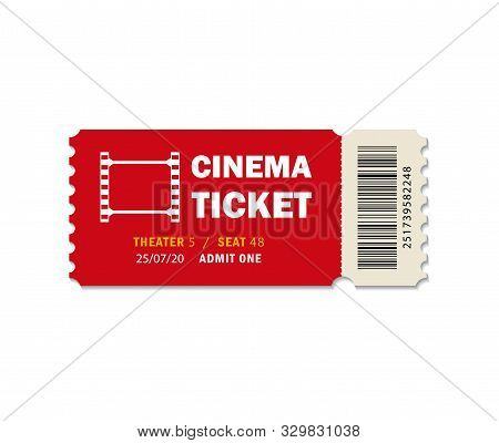 Ticket Of Cinema For Movie. Template Red Vip Entry Pass Tickets For Theater, Festival, Cinema On Iso