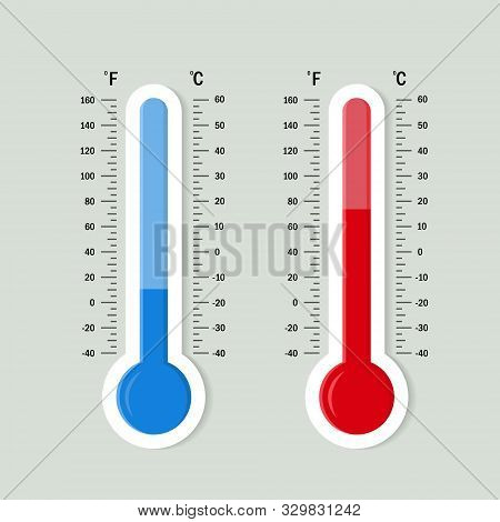 Flat Meteorology Thermometers Scale. Hot, Cold Temperature Icon. Accuracy Meteorology Fahrenheit And