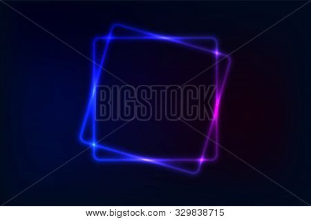Neon Sign. Square Frame With Glowing And Light. Electric Bright Rectangle Banner Design On Dark Blue