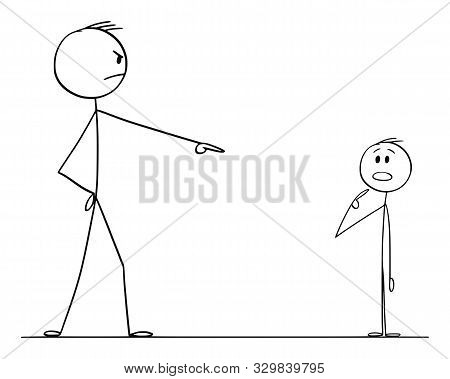 Cartoon Stick Figure Drawing Conceptual Illustration Of Man Pointing And Blaming Boy Or Another Man.