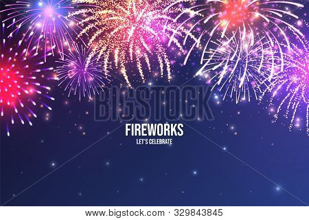 Festive Fireworks. Realistic Colorful Firework On Blue Abstract Background. Multicolored Explosion.